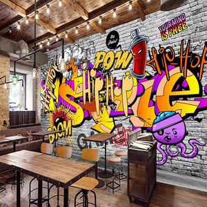 3D Hip Hop Street Graffiti Wall Mural from Gallery Wallrus | Eclectic Wall Art & Decor with Worldwide Shipping