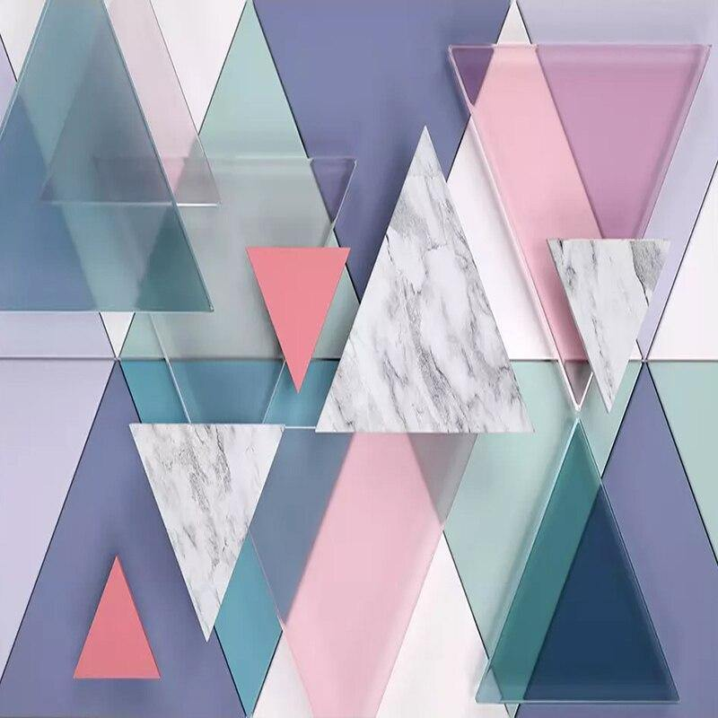 Pastel Triangle 3D Marble Geometry Wall Mural from Gallery Wallrus | Eclectic Wall Art & Decor with Worldwide Shipping