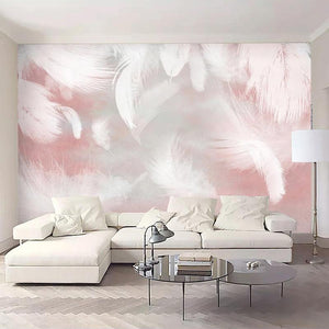 Soft Pink Feathers Wall Mural from Gallery Wallrus | Eclectic Wall Art & Decor with Worldwide Shipping