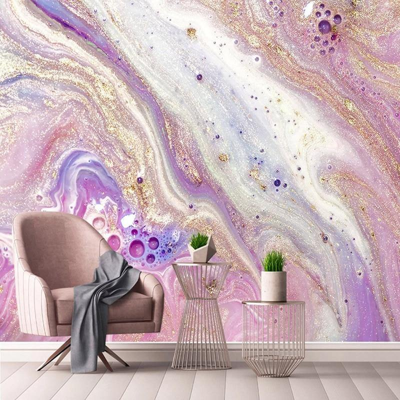 Purple Abstract Galaxy Golden Marble Wall Mural from Gallery Wallrus | Eclectic Wall Art & Decor with Worldwide Shipping