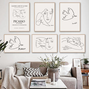 Minimalist Drawing Picasso Gallery Wall Arts from Gallery Wallrus | Eclectic Wall Art & Decor with Worldwide Shipping
