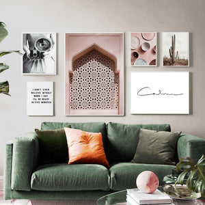 Pink Moroccan and Fun Typography Art Prints Gallery Wall Set from Gallery Wallrus | Eclectic Wall Art & Decor with Worldwide Shipping