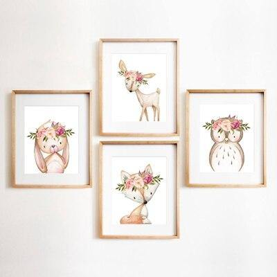Pink Peonies Woodland Animals Nursery Wall Art Mix & Match from Gallery Wallrus | Eclectic Wall Art & Decor with Worldwide Shipping