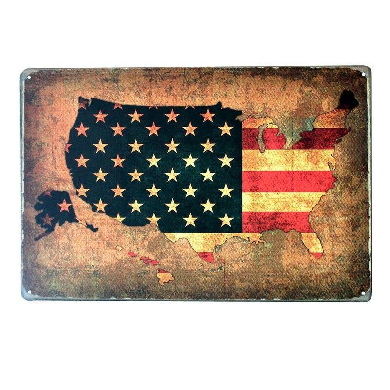 Route 66 Get Your Kicks USA Map Car Plate Design Metal Wall Poster from Gallery Wallrus | Eclectic Wall Art & Decor with Worldwide Shipping