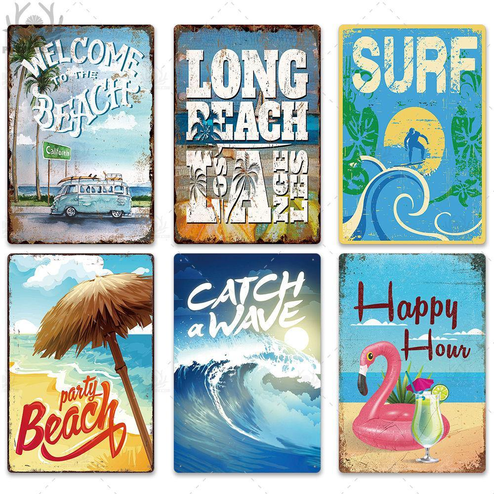 Summer Beach Themed Retro Metal Poster Wall Art Hangings (Mix & Match) from Gallery Wallrus | Eclectic Wall Art & Decor with Worldwide Shipping