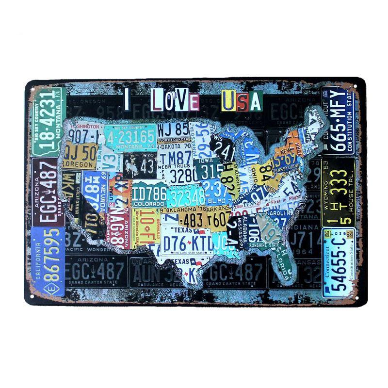 Vintage Usa Licence Plate Map Route 66 Metal Wall Art Sign Gallery Wallrus Free Worldwide