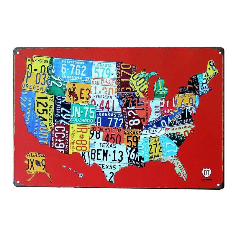 Vintage USA Licence Plate Map Route 66 Metal Wall Art Sign from Gallery Wallrus | Eclectic Wall Art & Decor with Worldwide Shipping