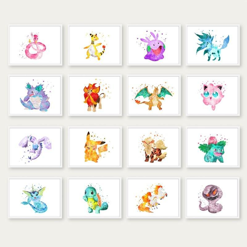 Pokemon Anime Watercolor Gallery Wall Art Prints 2 from Gallery Wallrus | Eclectic Wall Art & Decor with Worldwide Shipping
