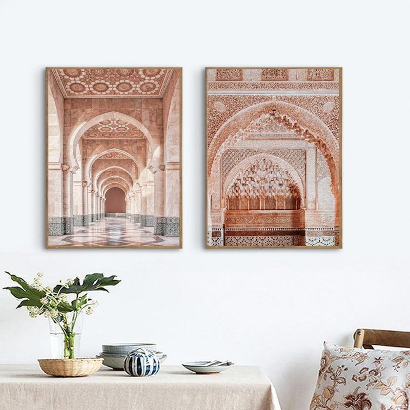 Moroccan Temple Pink Photography Wall Art Duo from Gallery Wallrus | Eclectic Wall Art & Decor with Worldwide Shipping