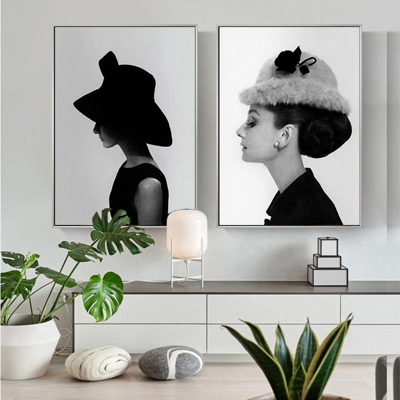 Classic Audrey Hepburn Side View Duo Portrait from Gallery Wallrus | Eclectic Wall Art & Decor with Worldwide Shipping