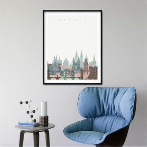 Prague Skyline Art Painting from Gallery Wallrus | Eclectic Wall Art & Decor with Worldwide Shipping