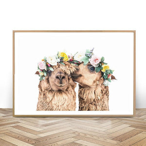 Flower Head Alpacas Wall Art Picture from Gallery Wallrus | Eclectic Wall Art & Decor with Worldwide Shipping