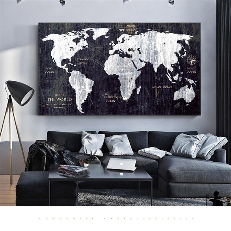 Black & White World Map Art Picture Print from Gallery Wallrus | Eclectic Wall Art & Decor with Worldwide Shipping