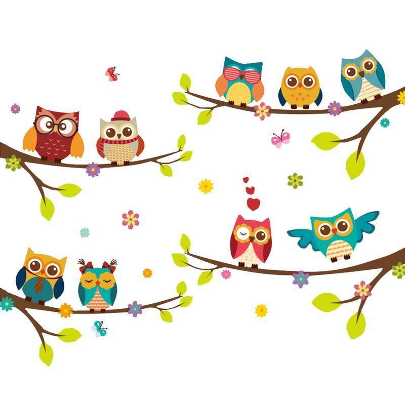Cute Babies Owl Friends Waterproof Wall Stickers from Gallery Wallrus | Eclectic Wall Art & Decor with Worldwide Shipping