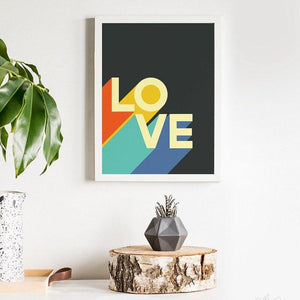 70s Retro Love Typography Funky Art Print from Gallery Wallrus | Eclectic Wall Art & Decor with Worldwide Shipping