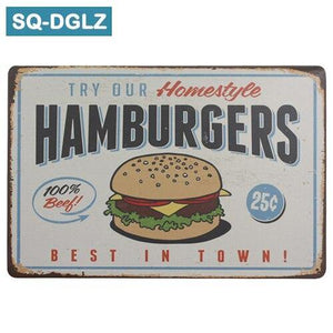 Hamburger and Fries Metal Wall Art Signs from Gallery Wallrus | Eclectic Wall Art & Decor with Worldwide Shipping
