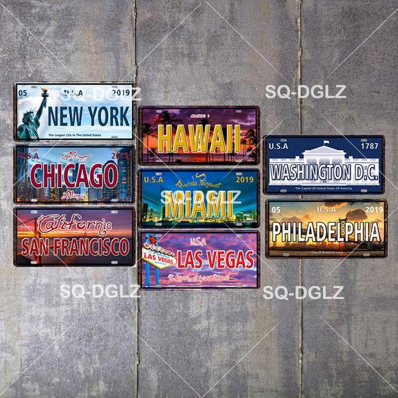 Vintage USA Cities and States Metal Plates from Gallery Wallrus | Eclectic Wall Art & Decor with Worldwide Shipping