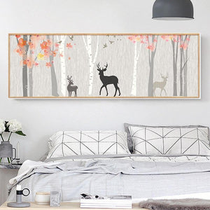 Deer Silhouette Wide Landscape Art from Gallery Wallrus | Eclectic Wall Art & Decor with Worldwide Shipping