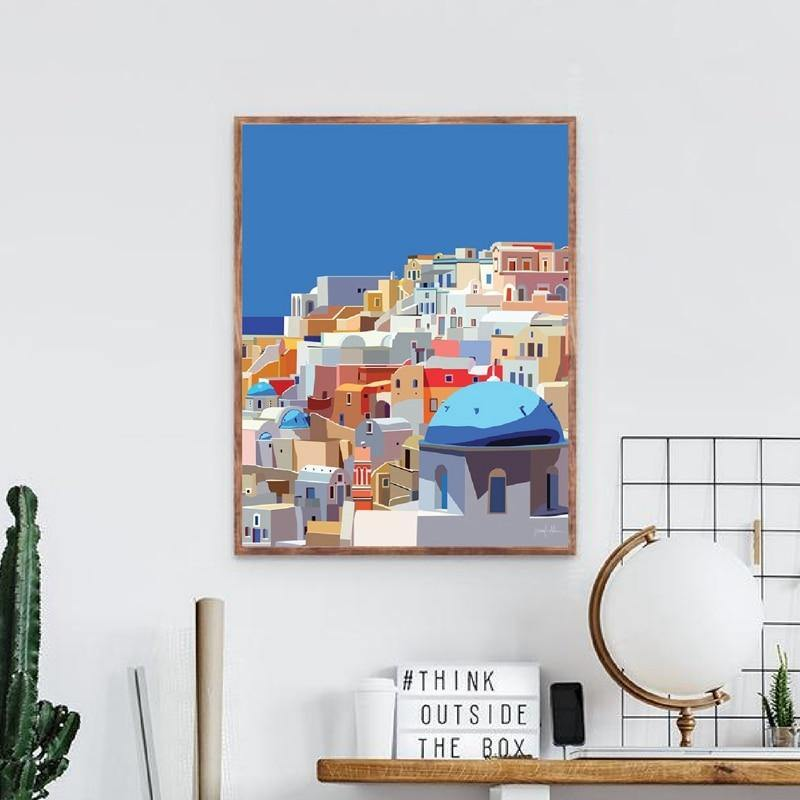 Santorini Greek Islands Wall Art Painting from Gallery Wallrus | Eclectic Wall Art & Decor with Worldwide Shipping