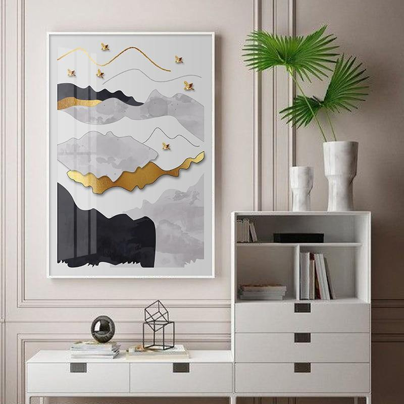 Golden Abstract Mountains Artwork from Gallery Wallrus | Eclectic Wall Art & Decor with Worldwide Shipping