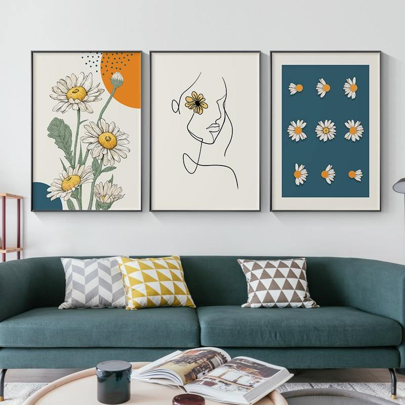 Blooming Sunflower Lady Gallery Wall Trio from Gallery Wallrus | Eclectic Wall Art & Decor with Worldwide Shipping