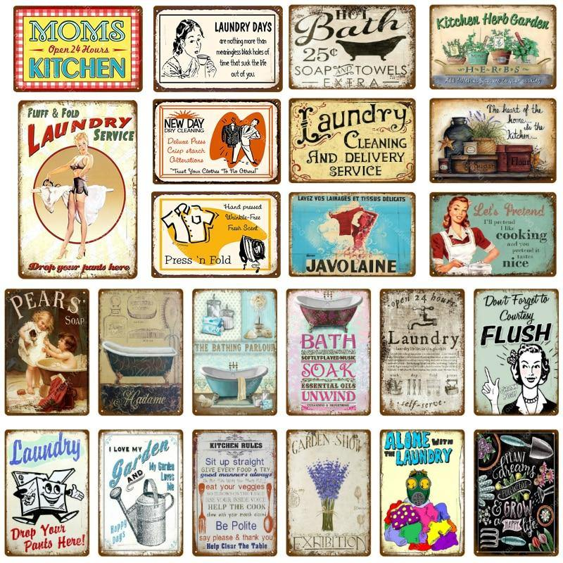 Vintage Laundry And Bathroom Wall Signs Mix And Match Gallery Wallrus Free Worldwide Shipping