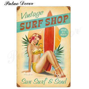Vintage Pin Up Girl Metal Wall Art Signs from Gallery Wallrus | Eclectic Wall Art & Decor with Worldwide Shipping