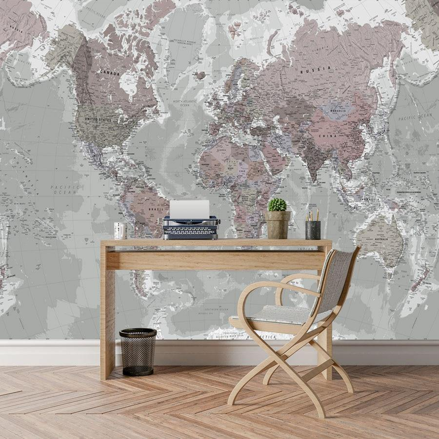 3D Gray World Map Wall Mural from Gallery Wallrus | Eclectic Wall Art & Decor with Worldwide Shipping
