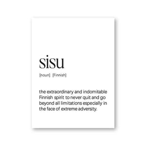 Sisu Finnish Definition Black & White Typography Art Print Wall Picture from Gallery Wallrus | Eclectic Wall Art & Decor with Worldwide Shipping