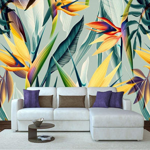 Colorful Southeast Asia Tropical Plants Flowers Wall Mural from Gallery Wallrus | Eclectic Wall Art & Decor with Worldwide Shipping