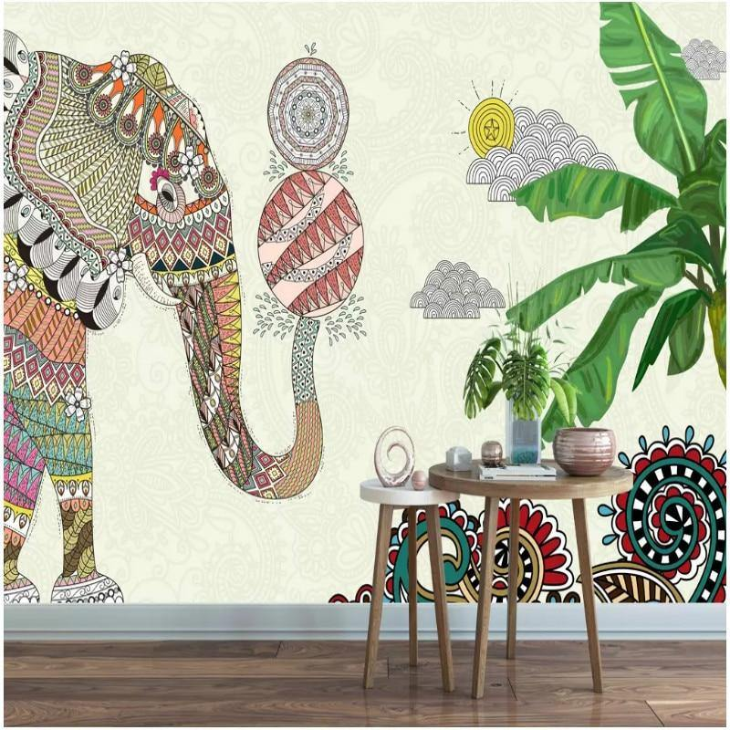 Thai Colorful Elephant Southeast Asian Wall Mural from Gallery Wallrus | Eclectic Wall Art & Decor with Worldwide Shipping