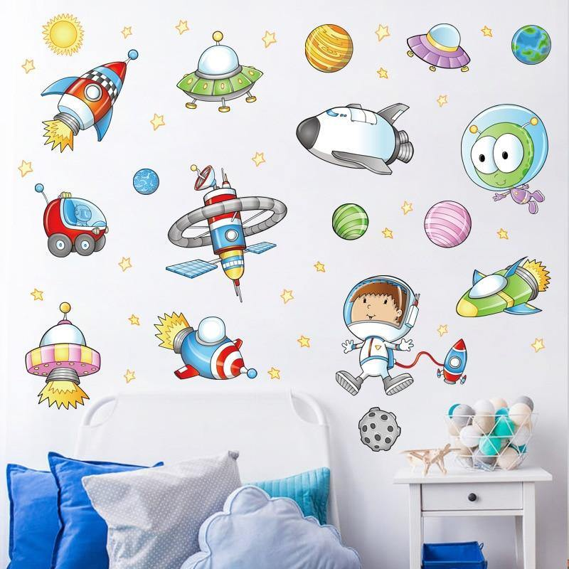 Astronaut Outer Space Rocket Ship Wall Stickers from Gallery Wallrus | Eclectic Wall Art & Decor with Worldwide Shipping