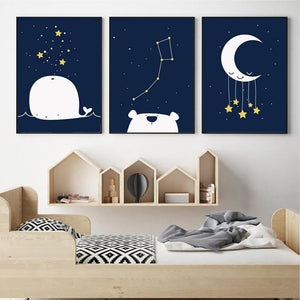 Kids Space & Moon Navy Blue Theme Wall Art Gallery from Gallery Wallrus | Eclectic Wall Art & Decor with Worldwide Shipping