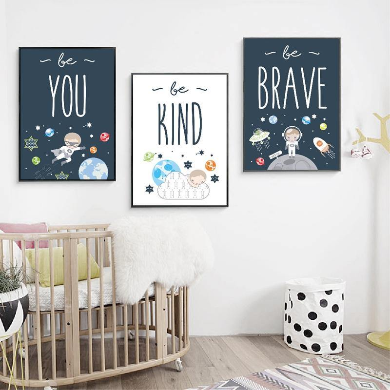 Be Brave Be Kind Be You Inspirational Space Kids Bedroom Picture Wall Art from Gallery Wallrus | Eclectic Wall Art & Decor with Worldwide Shipping