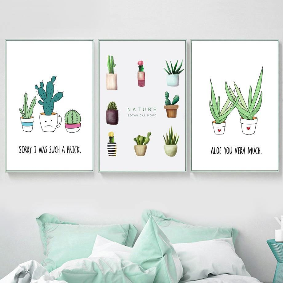 Funny Cactus Aloe Cartoon Quotes Gallery Wall Art Prints from Gallery Wallrus | Eclectic Wall Art & Decor with Worldwide Shipping