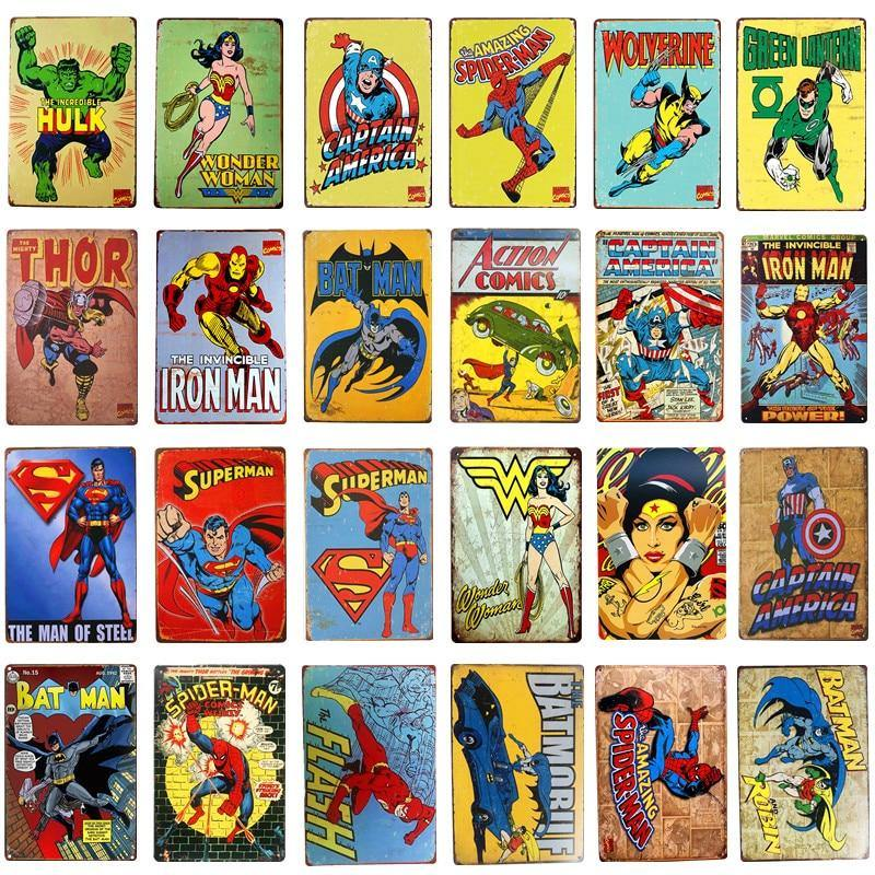 Super Hero Vintage Comic Wall Art Poster Metal Signs (Mix & Match) from Gallery Wallrus | Eclectic Wall Art & Decor with Worldwide Shipping