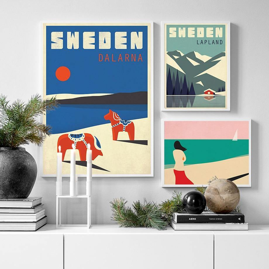 Sweden Denmark Travel Vintage Poster Wall Art Canvas Painting Nordic  Pictures And Prints Home Decor For Living Room from Gallery Wallrus | Eclectic Wall Art & Decor with Worldwide Shipping