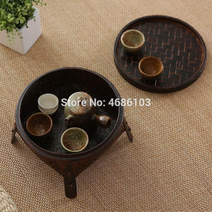 Thai Style  Retro Kungfu tea sets include bamboo baskets with covers for round household tea table tea ceremony and tea table from Gallery Wallrus | Eclectic Wall Art & Decor with Worldwide Shipping
