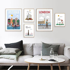 London, New York, Paris, San Francisco Illustration Gallery Wall Art from Gallery Wallrus | Eclectic Wall Art & Decor with Worldwide Shipping