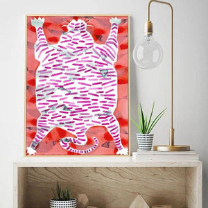 Tiger Rug Eclectic Pink Art Painting from Gallery Wallrus | Eclectic Wall Art & Decor with Worldwide Shipping
