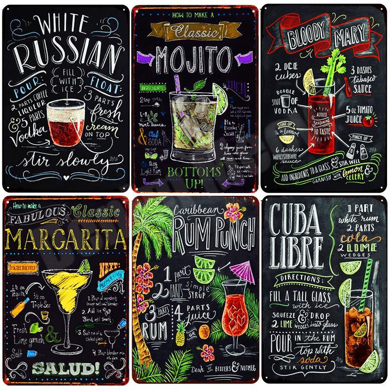 Colorful Cocktail Recipes Blackboard Signs from Gallery Wallrus | Eclectic Wall Art & Decor with Worldwide Shipping