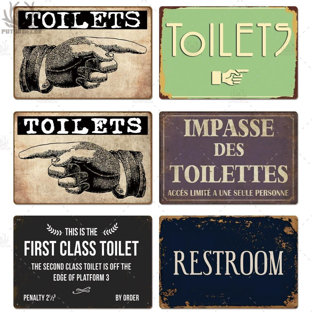 Bathroom Vintage Plaque Metal Signs (Various Designs) from Gallery Wallrus | Eclectic Wall Art & Decor with Worldwide Shipping
