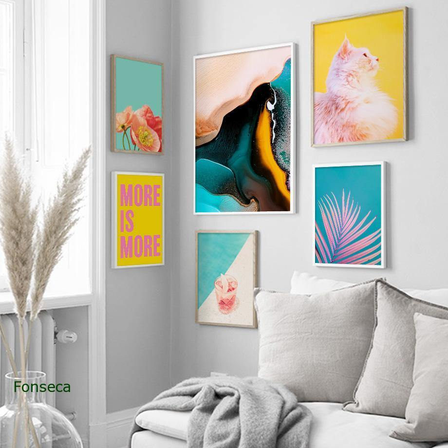 Tropical Plants Nordic Posters Palm Leaf Flower Orange Cat Wall Art Canvas Painting Colorful Pictures For Living Room Home Decor from Gallery Wallrus | Eclectic Wall Art & Decor with Worldwide Shipping