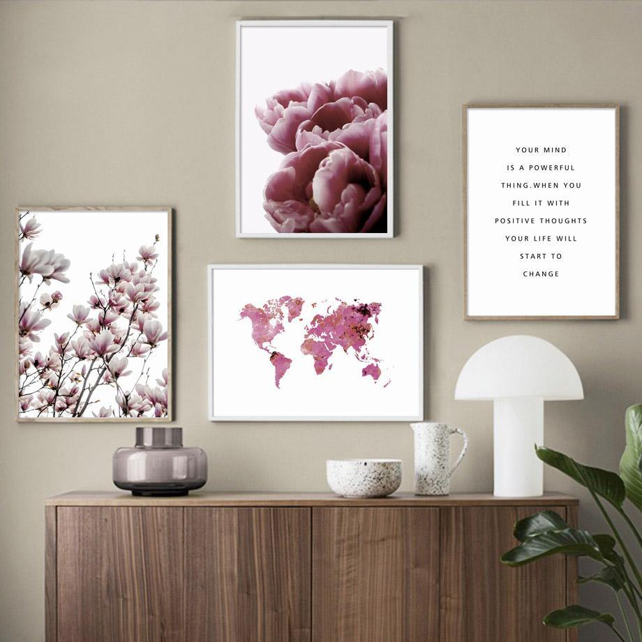 Floral Pink World Map Gallery Wall Art Prints Mix & Match from Gallery Wallrus | Eclectic Wall Art & Decor with Worldwide Shipping