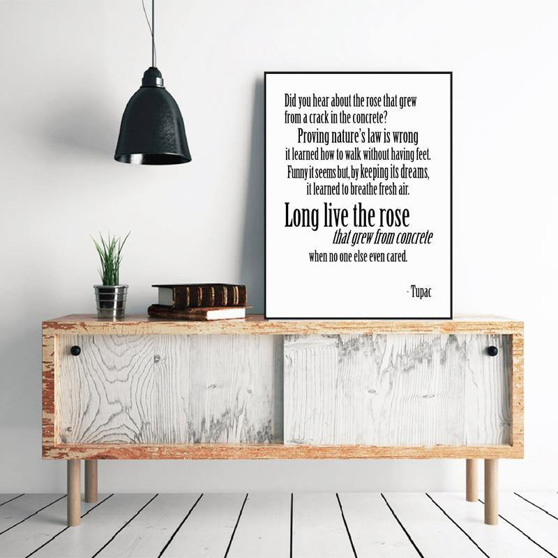 Tupac, A Rose That Grew From Concrete Lyrics Typography Art Print from Gallery Wallrus | Eclectic Wall Art & Decor with Worldwide Shipping