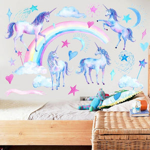 Rainbow Unicorns Wall Stickers from Gallery Wallrus | Eclectic Wall Art & Decor with Worldwide Shipping