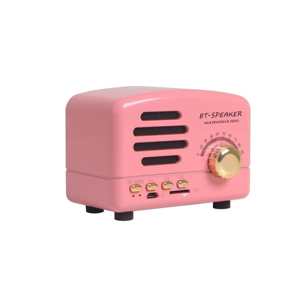 Retro Bluetooth speaker in Pink / Black / Wood from Gallery Wallrus | Eclectic Wall Art & Decor with Worldwide Shipping