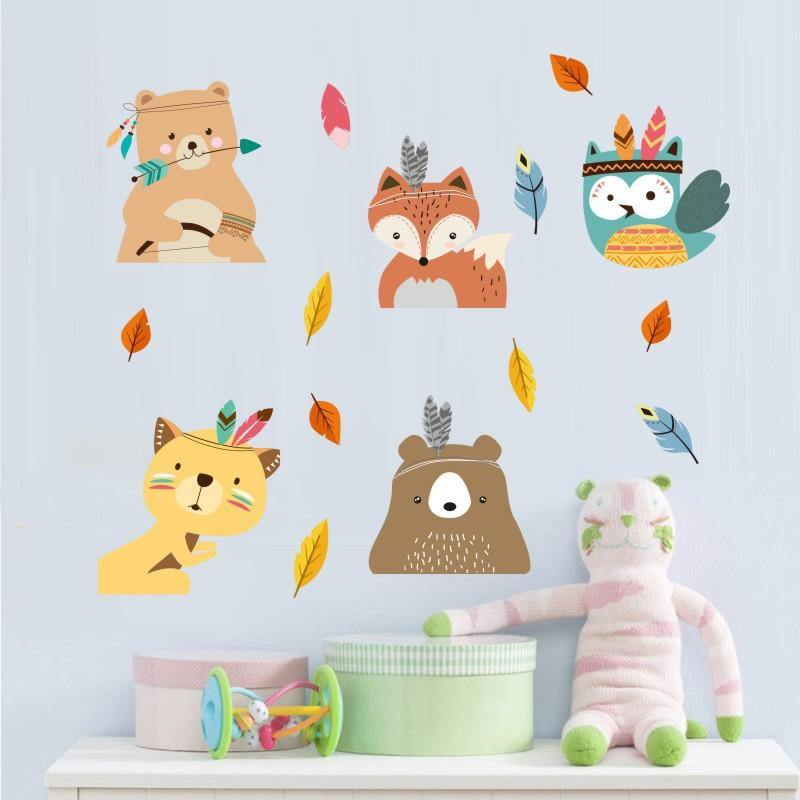 Indian Boho Style DIY Cute Animals Wall Stickers from Gallery Wallrus | Eclectic Wall Art & Decor with Worldwide Shipping