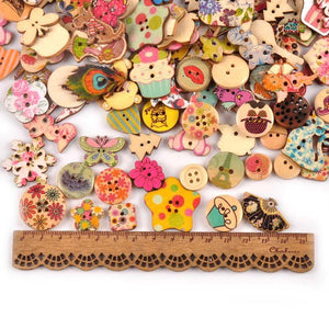 Various Designs of Wooden Mixed Painting 2-Holes Buttons from Gallery Wallrus | Eclectic Wall Art & Decor with Worldwide Shipping