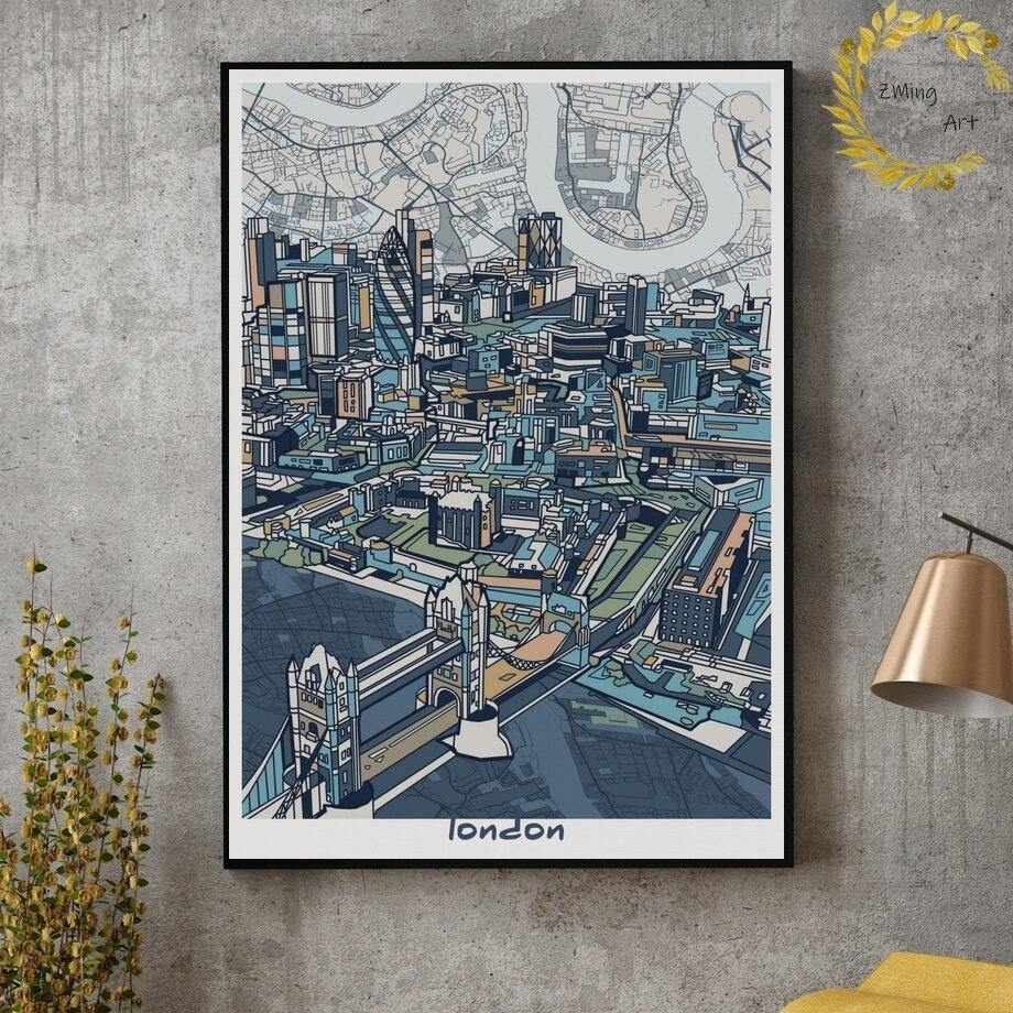 Famous City Blue Gallery Wall Art Illustrations from Gallery Wallrus | Eclectic Wall Art & Decor with Worldwide Shipping